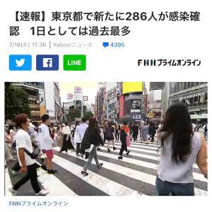 今日は虹の日!一日で286人コロナ感染東京都発表
