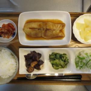 カレイの煮つけ主菜の昼ごはん