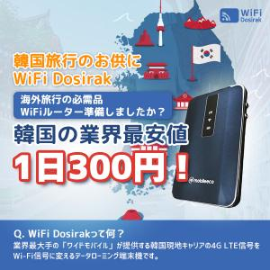 【韓国旅行】業界最安値レンタルWIFI『WiFiDosirak』で安心快適に楽しむ