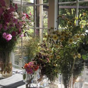 「花と暮らす」こっくり秋の花を束ねるWSを開催しました