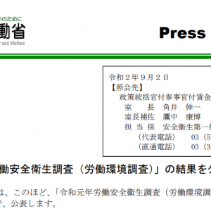 令和元年「労働安全衛生調査(労働環境調査)」の結果を公表