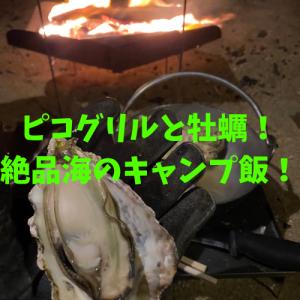 ピコグリルで海辺の焚火!最高の時期の牡蠣を調理しながらまったり夜キャン!