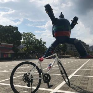 鉄人28号見に自転車で