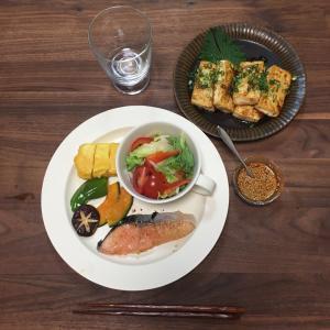 鮭の西京焼きと豆腐のステーキ