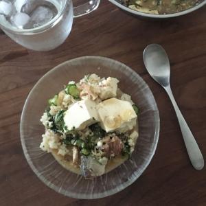 サバの水煮缶と玄米で冷や汁