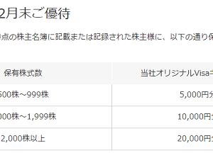 2019年度のブロードリーフの株主優待が決定 最高VISAギフトカード2万円