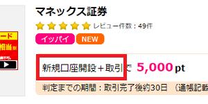 マネックス証券の口座開設+1取引で5,000円相当が貰える!