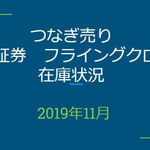 2019年11月つなぎ売り、SBI証券フライングクロス在庫状況&クロス状況(優待クロス)