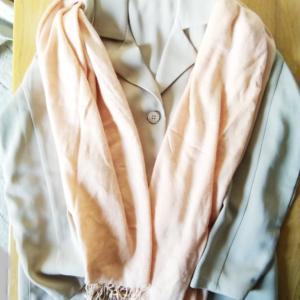 エモダのペラペラ薄物コートを処分しないで良かったです。クレイサスのサーモンピンクストールに合わせています。