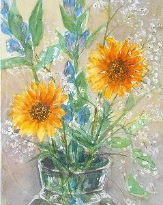 ヒマワリとリンドウの花