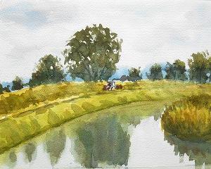 川のある風景を描く(NARAさんのオンライン)