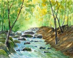 渓流を描く(NARAさんのオンライン)を見て!
