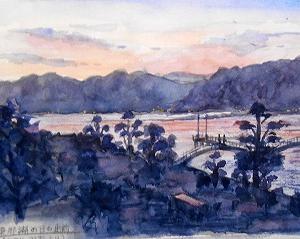 東郷湖の夜明け(ハワイ温泉、ホテル羽衣より)