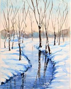 雪の水路を描く(那良さんのオンライ講座)