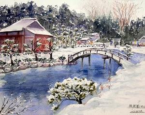 雪の後楽園(岡山市)