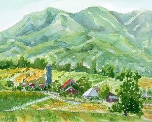 蒜山を背景に酪農大学を描く(休暇村デッキより)