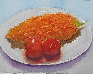 熟れ過ぎたゴーヤとミニトマト