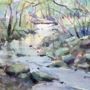 渓流を描く