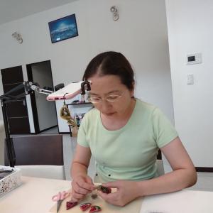 ビーズ刺繍WSの復習動画撮影と、ハワイアンコードのマスクケース