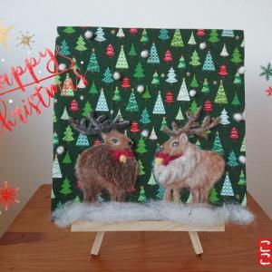 トナカイの羊毛刺繍で Merry Christmas(^^)~生徒様作品