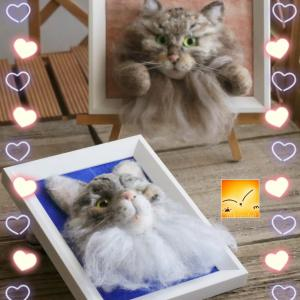 羊毛フェルト猫のフレーム~羊毛フェルト作品展⑫