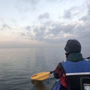 2020/01 湾奥初釣り(カヤック)。