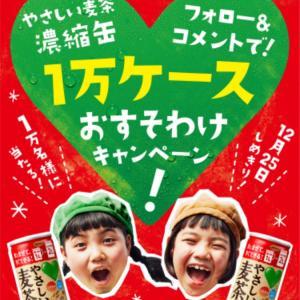 1万名様に♡やさしい麦茶濃縮缶1ケース(30本)がその場で当たる!(12/25)