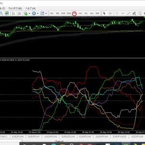 ベリーチャート   現時点の通貨別強弱チャート1時間足(ドル円ベース)クロス円鉄板ゾーンから暴落