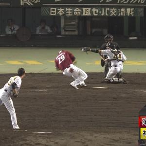 阪神・島本、楽天山下への死球により危険球退場・・・