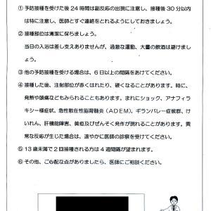 【雑記】インフルエンザ予防接種