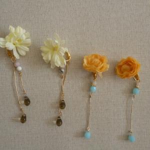 お花のイヤリング作りました(^^♪