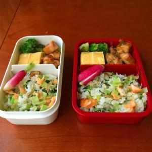 10月7日 小松菜と鮭のまぜご飯弁当