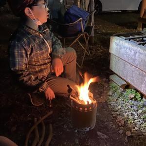 キャンプ場で松明、そして火の舞  ニ瀬キャンプ場11月キャンプ6