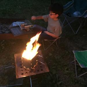 紙管で焚火は面白い 無印南乗鞍キャンプ場19年-3