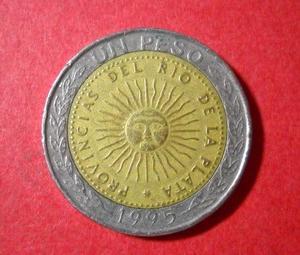 アルゼンチン 32光線の太陽 バイメタル 1995年 1ペソ