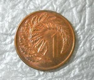 ニュージーランドのシダ植物が描かれた1セントコイン