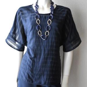 紺織ボーダー布帛のドルマン袖トップ(3XL完成)/パターンと布の伸縮