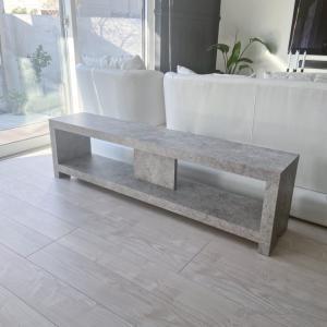 DIY★リビングにコンクリート調の座れる棚ベンチを作りました