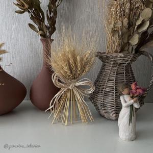 秋インテリア★楽天で買った麦ブーケと主寝室のドライフラワー