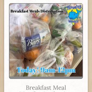 授業はオンラインのみ。朝食配布の受け取り