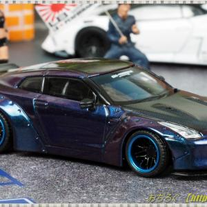 1/64 LB★Works Nissan GT-R R35 Type1 Rear Wing ver.2 マジックパープル カーボンボンネット 【TSM MINI GT】