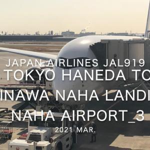 【機内から離着陸映像】日本航空 JAL919 (JA04XJ) 羽田 – 那覇 那覇空港着陸 2021 Mar.