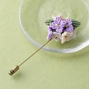 マクラメ 小花のブーケピンブローチ