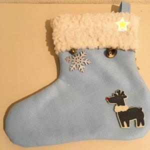 【幼稚園】クリスマスの靴下をフェルトでハンドメイドしました
