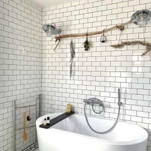 バスルームを流木インテリアで緑化。流木の飾り方は意図的無造作が要