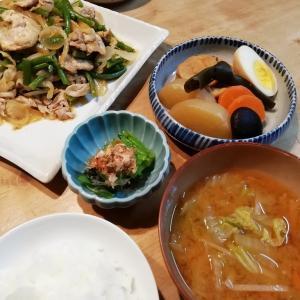豚肉とニンニクの芽の炒め物&大根の煮物の献立