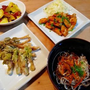 実家からのお野菜&うどの天ぷら、ささみの甘辛焼きの献立