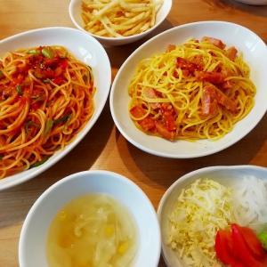 カルボナーラとトマトソースのパスタ