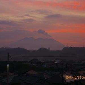 2019年10月22日、朝の桜島
