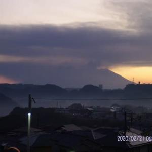 2020年02月21日、朝の桜島